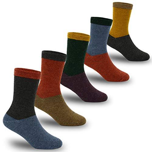 Boys Wool Socks Kids Winter Warm Crew Socks 5 Pack