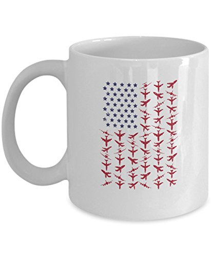 Aviation American Flag White Mug 11oz - Cool Unique Ceramic Coffee Cup - Great Christmas, Birthday, Aviation Day Gift For Pilots, Captains, Flight Attendants, Aviators, Mechanics Airport Staff & Fans