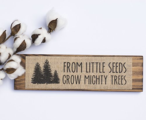 From little seeds grow mighty trees - Bedroom Kids Room Quote Wall Sign Decoration - BURLAP/WOOD SIGN - HANDMADE IN USA