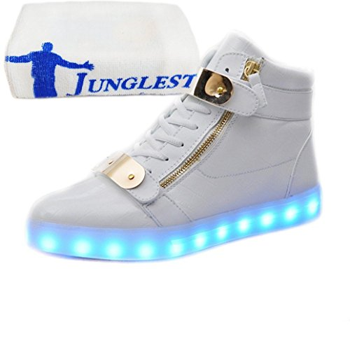 (Presente:pequeña toalla)JUNGLEST® 7 Colores USB Carga LED Luz Glow Luminosos Light Up Flashing Sneakers Zapatos Deportivos d Charol Alto-Top Blanco
