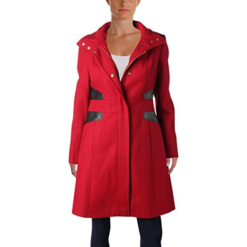 Via Spiga Women's Stand Collar Coat w/PU Via Red 2