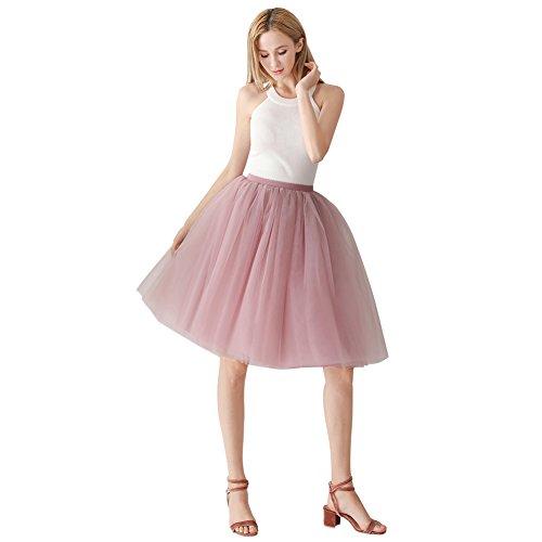ShowYeu Femmes A-Ligne 60 CM Tutu Tulle Jupon Robe de Fte Mi-Mollet Vintage Demoiselles Party Dress Balle De Bal Dusty Rose