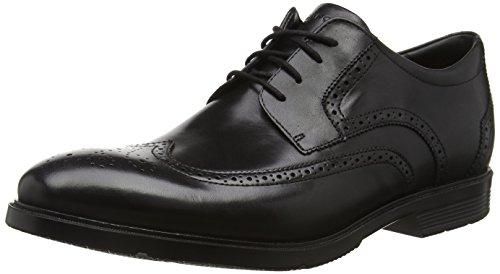 Rockport City Smart Wing Tip, Derby Homme - Noir (black Leather), 49 EU