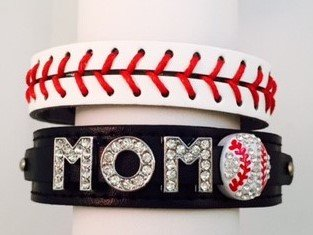 Black Rhinestone Baseball MOM Bracelet - Leather Bracelet Baseball