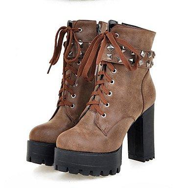El Gray Confort Otoño Redondo Hasta Tacón Moda Botas Invierno Dedo Botines De amp;m Heart Robusto Tobillo Innovador Ante Zapatos Mujer Iq77gYH