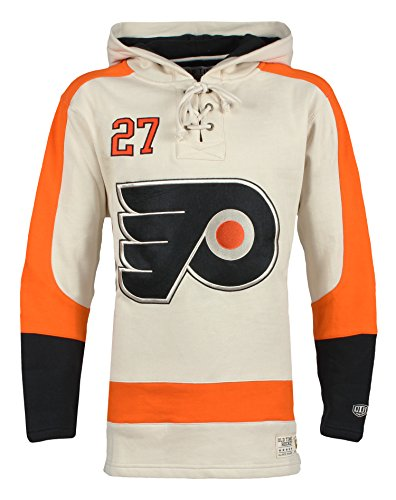 Philadelphia Flyers Player Apparel - Old Time Hockey NHL Philadelphia Flyers Ron Hextall Men's Player Lacer Name & Number Hoodie, Small, Multicolor