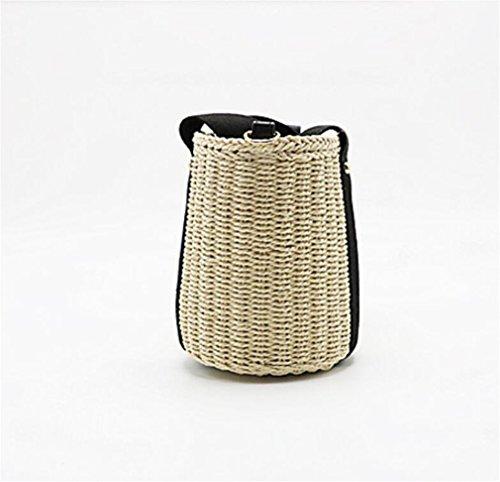 Woven Bag Ladies Playa Straw Black Handbag Z Slung Black Summer Shoulder De ELEGENCE Rattan Beach Bag Bolsa vxPTwxRq