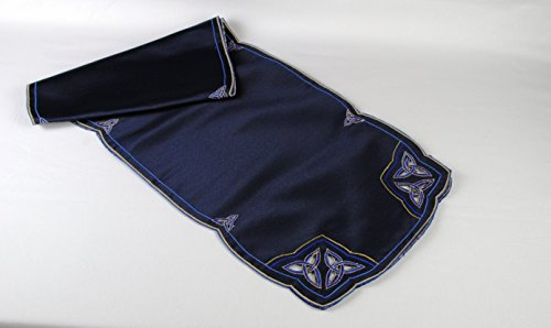 Table Runner in a Blue Celtic Trinity Knot Design by Celtic Glass Designs