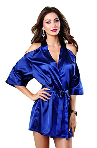 Dreamgirl Women's Sexy Satin Charmeuse Cut-Out Cold Shoulder Kimono Robe,