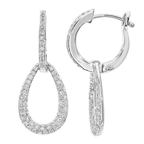 Revoni-Créoles or blanc 18carats et goutte Boucle 0,50ct Diamant Boucles d'oreilles