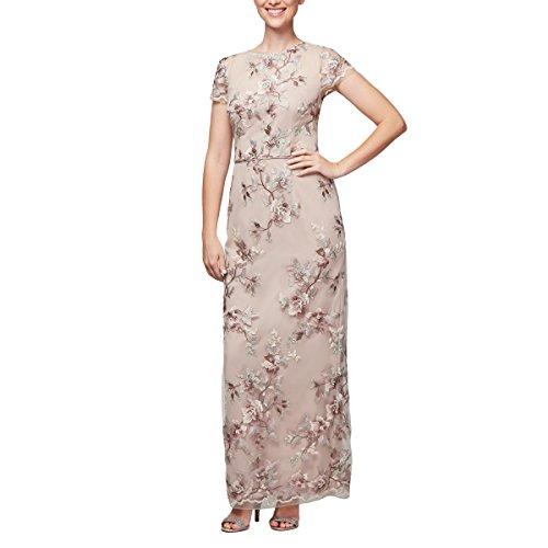 Cap Sleeve Embroidered Dress - Alex Evenings Women's Long Cap Sleeve Embroidered Dress with Back Slit, Nude Multi, 14