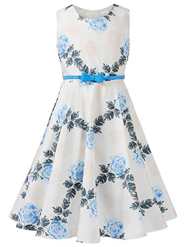 Bonny Billy Girls Sleeveless Vintage Floral Swing Party Dress Size 7 8 Floral Blue