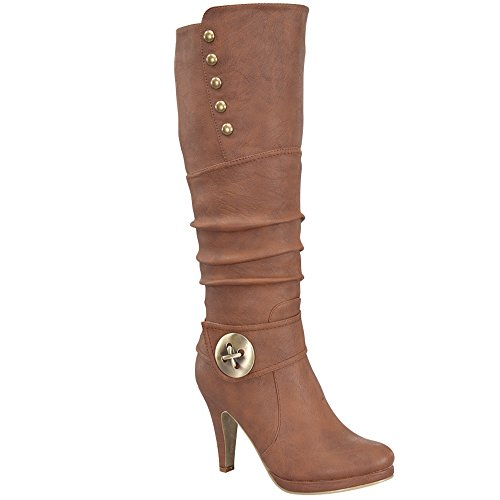 Womens Win-45 Knee High Round Toe Slouched High Heel Boots, TAN 8