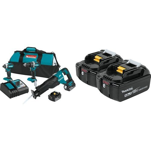 Makita XT328M 4.0 Ah 18V LXT Lithium-Ion Brushless Cordless Combo Kit, 3 Piece with free Makita BL1840B-2 18V LXT Lithium-Ion 4.0Ah Battery Twin Pack
