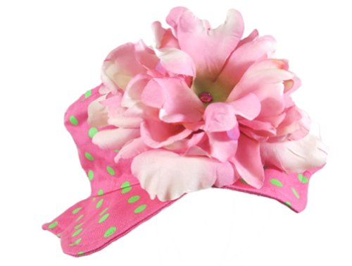 Jamie Rae Hats Baby Girl's Sun Hat- Candy Pink Dot with Candy Pink Peony 12m-2y