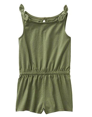 Crazy Green (Crazy 8 Girls' Toddler Elastic Waist Knot Sleeve Knit Romper, Olive Green, 4T)