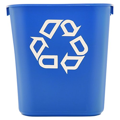 Deskside Paper Recycling Containers (Rubbermaid Commercial 295573BE Small Deskside Recycling Container, Rectangular, Plastic, 13.625qt, Blue)