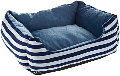 long rich Blue White Stripe Rectangle Pet Bed Small Size,by Happycare Textiles