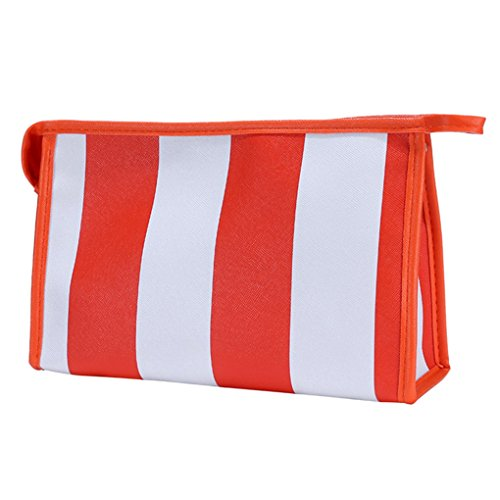 Hatop Fashionable Portable Stripe Cosmetic Bag Travel Toiletry Bag Organizer … (Orange) - Replica Makeup