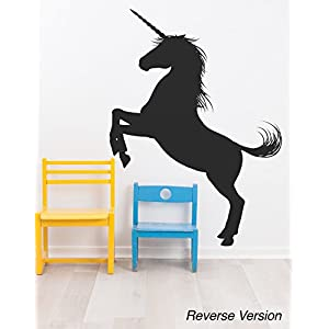 Unicorn Wall Decal Sticker. Black Color, Large 45in Tall X 33in Wide. Fantasy Silhouette Design for Girl's Bedroom Decor. #6108m-45×33-Rev. Facing Left