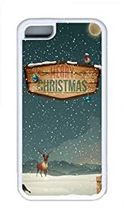 Apple iPhone 5C Case Cover - Merry Christmas Raindeer Presents Cool TPU Case Cover Protector For iPhone 5C - White
