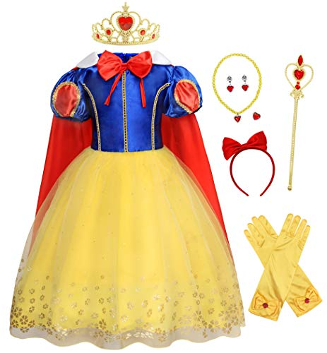 Snow White Halloween Fancy Dress (Jurebecia Princess Dress Toddler Girls Princess Dresses Kids Halloween Costumes Outfits Birthday Party with Crown Scepter Red Bow-Knot Headband Size)