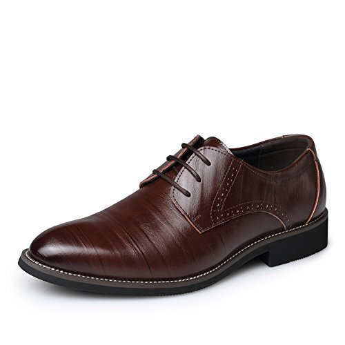 DeLamode Men Genuine Pig Skin Leather Drawing texture Shoes Business England Sapato Brown 1z0Cr3aac