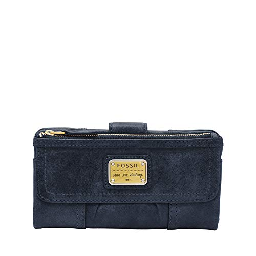 Fossil Women's Emory Leather Clutch Wallet, Midnight Navy