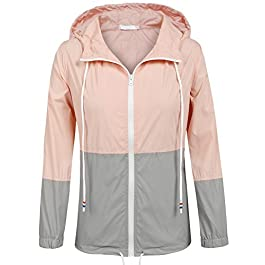 SoTeer Women's Waterproof Raincoat Outdoor Hooded Rain Jacket Windbreaker (15 Colors S-XXL)
