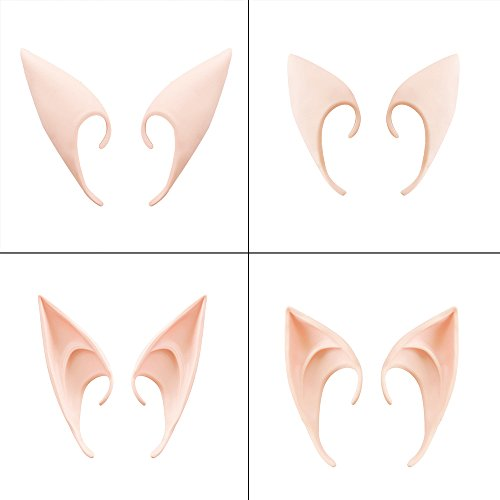 Adecco LLC Cosplay Fairy Pixie Elf Ears, Soft Pointed Elven Ears Tips Halloween Anime Party Costume Accessories(2 Pairs)]()