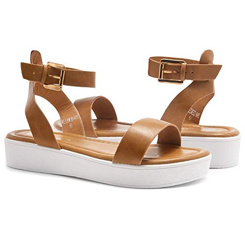 0574ba6eb7 ... Herstyle Needed Me Women's Fashion Ankle Strap Buckle Low Wedge  Platform Heel Comfortable Sandals Shoes Camel ...