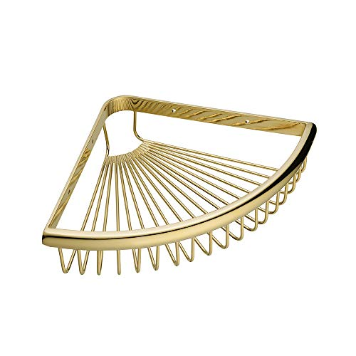 Beelee BA8401G Solid Brass Products Wall Mounted Corner Triangle Shower Wire Basket Shower Caddies Storage Cosmetic Holder Bathroom Hardware Golden