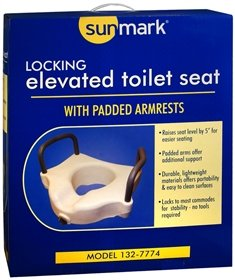Sunmark Elevated Toilet Seat, Locking, With Padded Armrests - 1 ea., Pack of 4