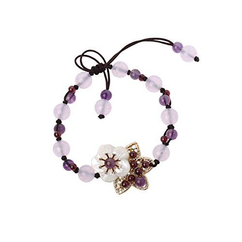 (Olici Ladies And Teen Girls Elastic Beaded Charm Bracelet Amethyst Maiden National Wind Simple Tassel Hand String Hand Ornament 15 Cm)