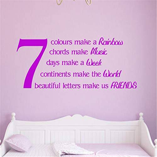toguke Vinyl Wall Decals Quotes Sayings Words Art Deco Lettering Inspirational 7 Colours Make a Rainbow 7 Chords Make Music 7 Beautiful Letters Make us Friends for Living Room Bedroom Wall Sticker