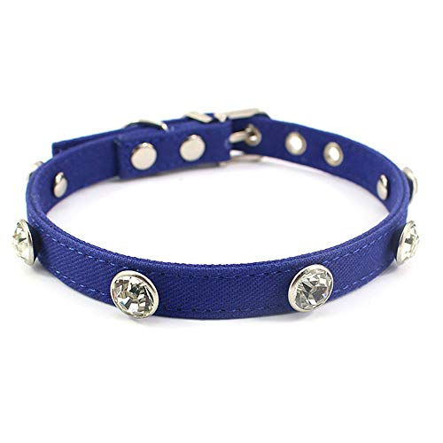 "Benala Rhinestone Dog Collar, Crystal Cat Jewelry, Cat Collar with Bling for Pets Kitten Girl Costume Accessory for Teacup Chihuahua,Dark Blue,XS:(Neck 6.7-8.7"")"