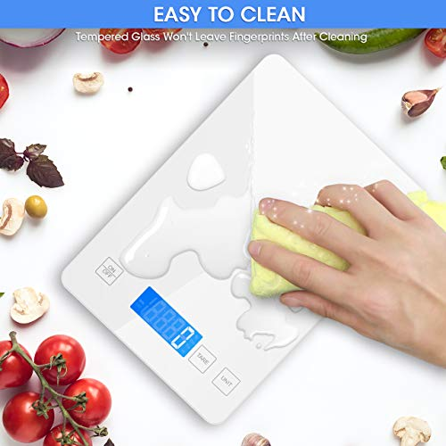 Nicewell Food Scale, 22lb Digital Kitchen White Scale Weight Grams and oz for Cooking Baking, 1g/0.1oz Precise Graduation,Tempered Glass