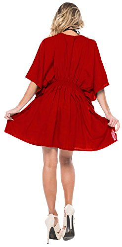 La Leela Bademode Rayon Bestickte Bluse der Frauen Badebekleidung Badeanzug-Bikini-Vertuschung Rot_2816 HpmvJNSg7Y