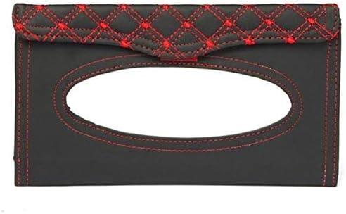 MxZas Tissue Box Car Kit Tissue Box Universal-PU-Masken-hängende Art-Stickerei-Muster Gewebe-Abdeckung In Car Styling (Farbname: Rot) Jzx-n