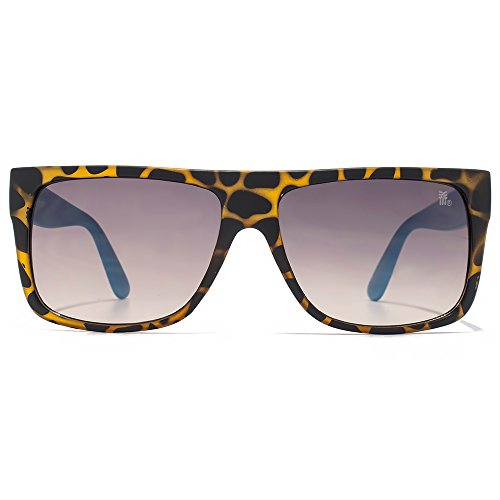 Fenchurch Flat Top lunettes en écaille mate avec des Temples en caoutchouc bleu FCH030 Grey Brown Gradient