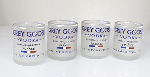 Handmade Grey Goose Vodka Upcycled Shot Glass Set of 4 For Sale
