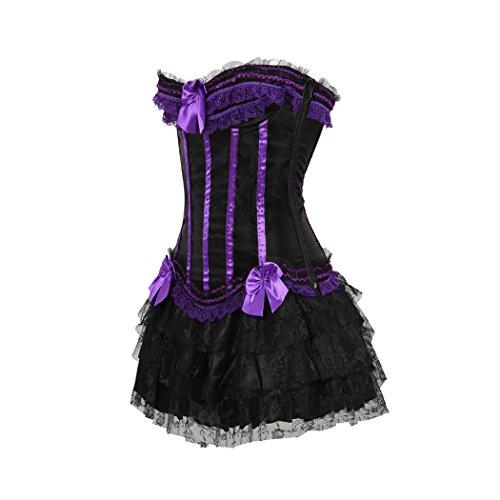 Burlesque Corset Lace up Satin Padded Cup Bustier Plus Fancy mini tutu Skirt Set Púrpura-Negro