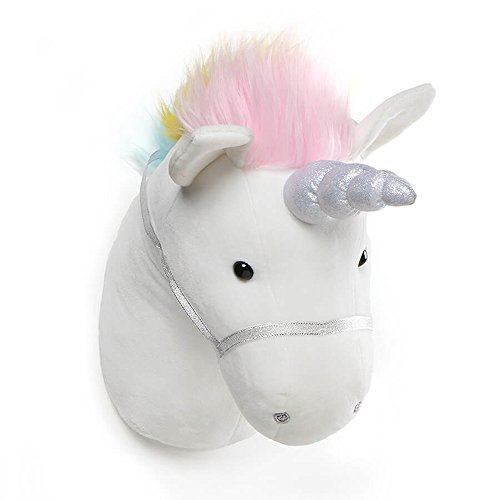 GUND Unicorn Plush Head Stuffed Animal Hanging Wall Décor, White, 15