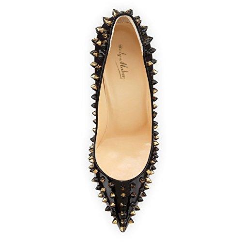 High Rivets Heel Toe Pointed Women's Stilettos Slim Pumps Fashion Black JOOGO Beauty 8txqX6pCpw