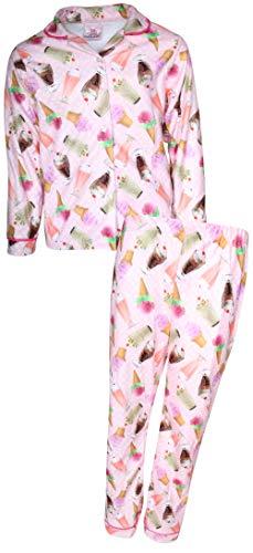 Flannel Coat Style Pajamas - Sweet & Sassy Girls 2-Piece Photo Real Flannel Coat Style Pajama Set, Pink Ice Cream, 5/6'