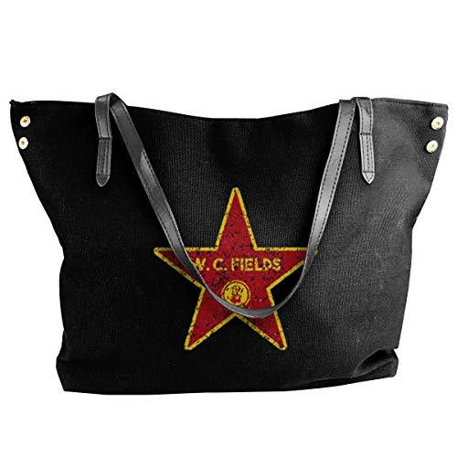 Women's Canvas Shoulder Tote Bag W.C. Fields-Walk Of Fame Shopping Casual Large Capacity Handbag