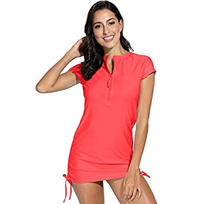 BesserBay Women's UV Sun Protection 1/4 Zip Short Sleeve Rash Guard Swimsuit Top at Women's Clothing store