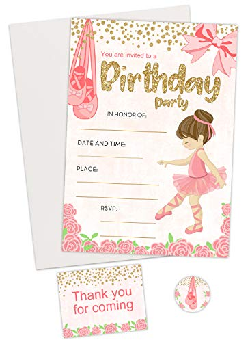 Ballerina Invitations kit (20 Count) with Thank You for Coming Card and Envelope Seal Sticker. Includes envelopes for Invitations.