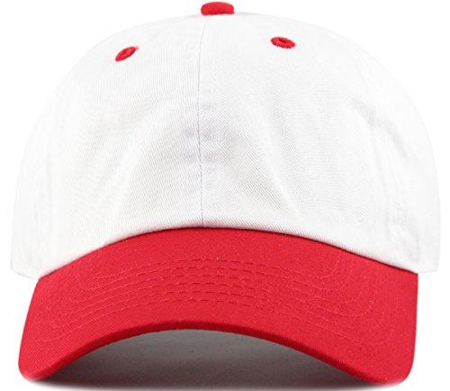 Two Tone 100% Cotton Stonewashed Cap Adjustable Hat Low Profile Baseball Cap.(Red)