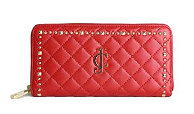 Juicy Couture Quilted Leather Accordion Zip Wallet - Red